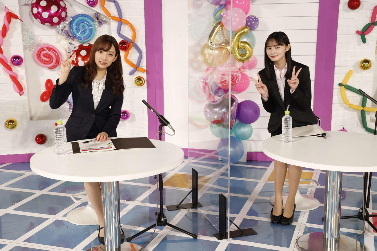 ABEMA「乃木坂46時間TV」でMCを務めた新内眞衣(左)と遠藤さくら