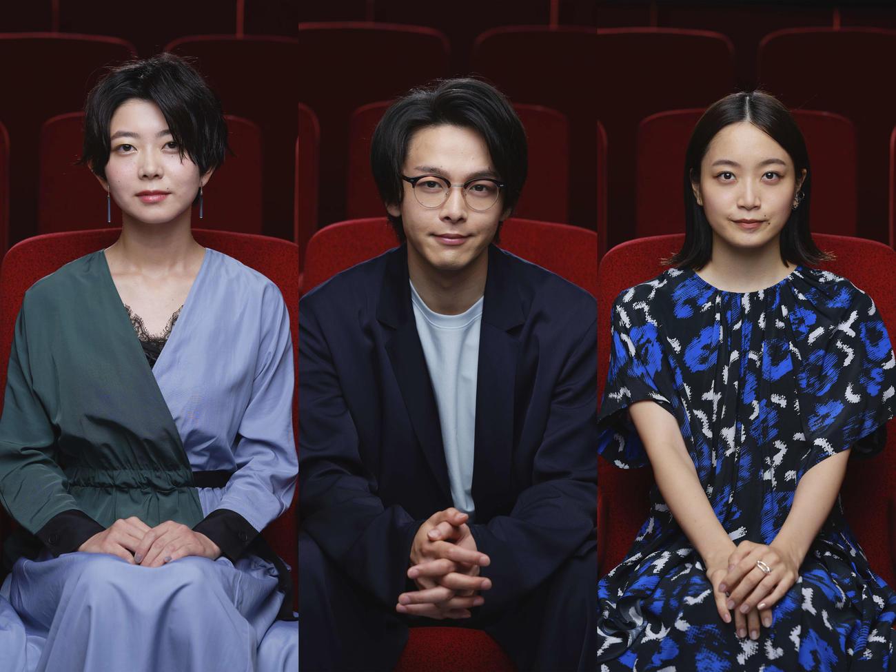 映画「水曜日が消えた」の舞台あいさつに出席した、左から石橋菜津美、中村倫也、深川麻衣(c)2020「水曜日が消えた」製作委員会