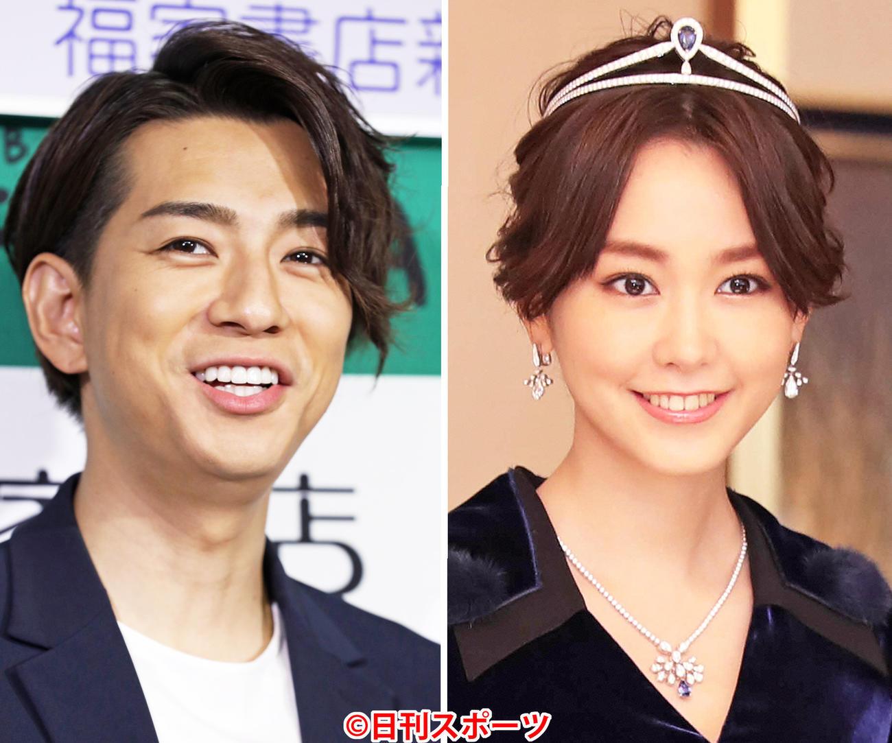 三浦翔平(左)と桐谷美玲