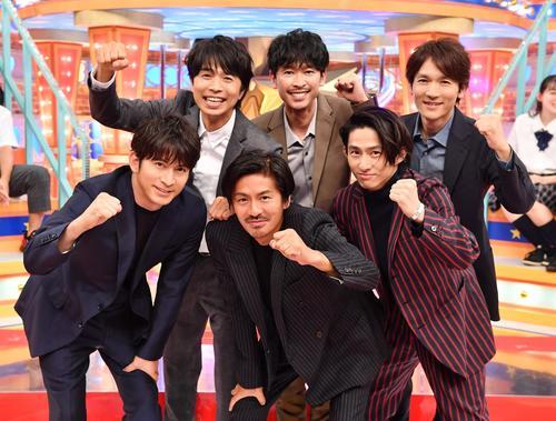 TBS系特番「V6の愛なんだ2020」の放送が決まったV6。前列左から岡田准一、森田剛、三宅健。後列左から井ノ原快彦、坂本昌行、長野博