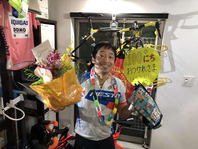 「団長安田おうちで自転車ZWIFTトークライブ」が10日に100日目を迎え、11日に163キロを走破した団長安田(本人提供)