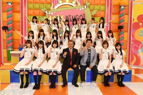 「KEYABINGO!」の会見に出席した欅坂46とサンドウィッチマン