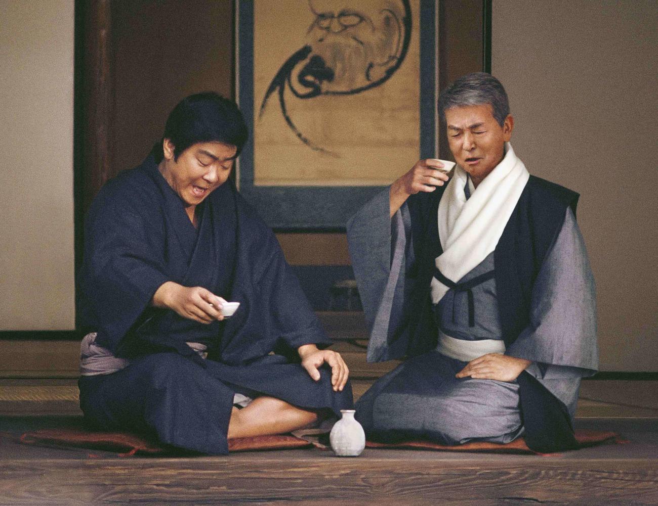 石原裕次郎さん(左)、渡哲也が編集技術で共演する宝酒造「松竹梅」新CM