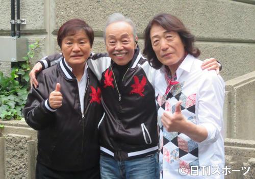 アリスの左から堀内孝雄、谷村新司、矢沢透(2019年10月26日撮影)
