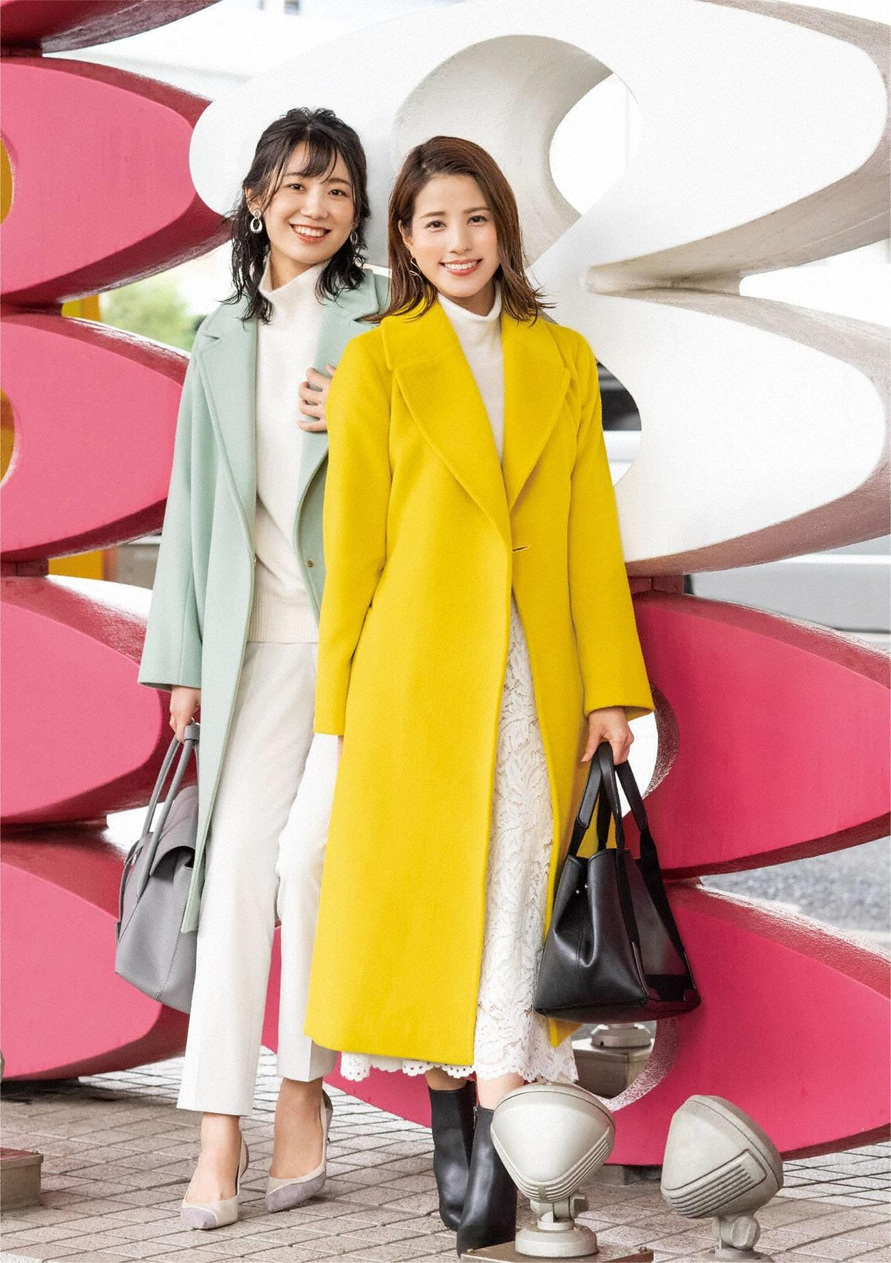 「フジテレビ女性アナウンサーカレンダー2021」の1月に登場する新美有加アナ(左)、永島優美アナ(C)フジテレビ