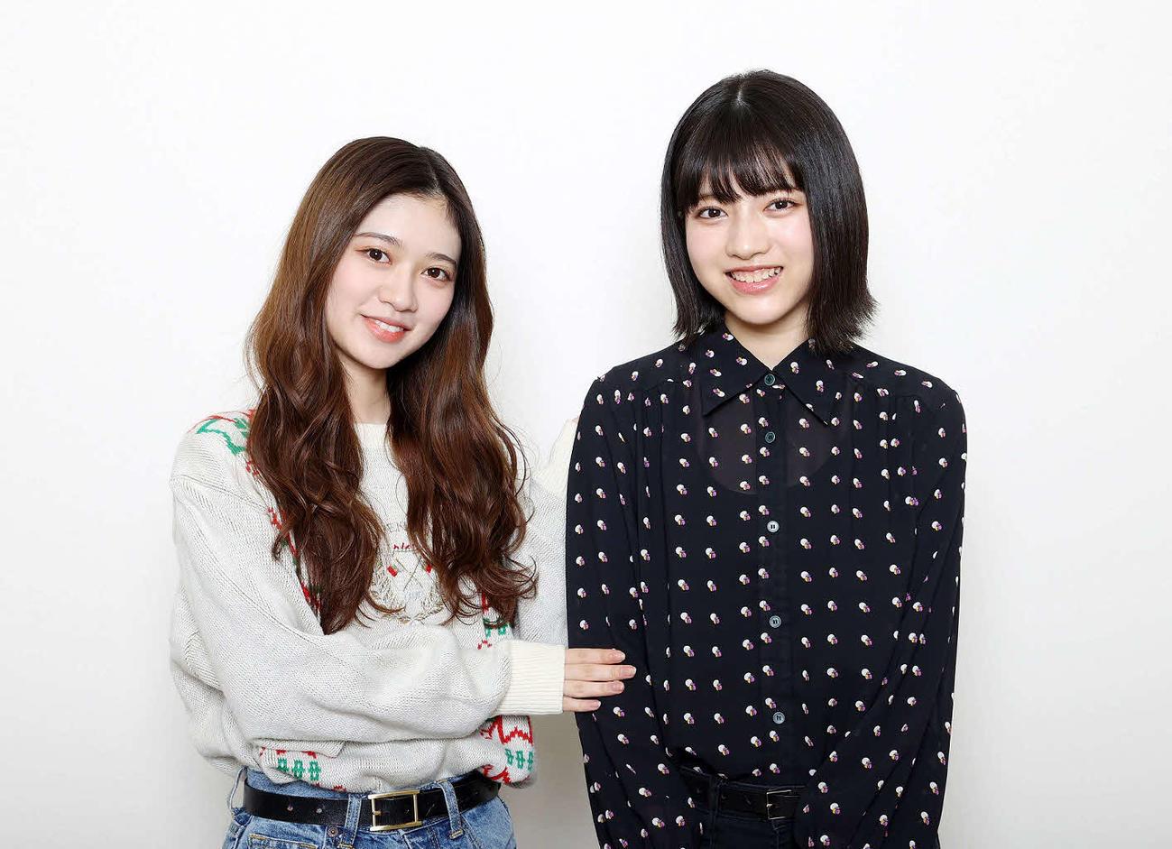 乃木坂46寺田蘭世(左)と林瑠奈