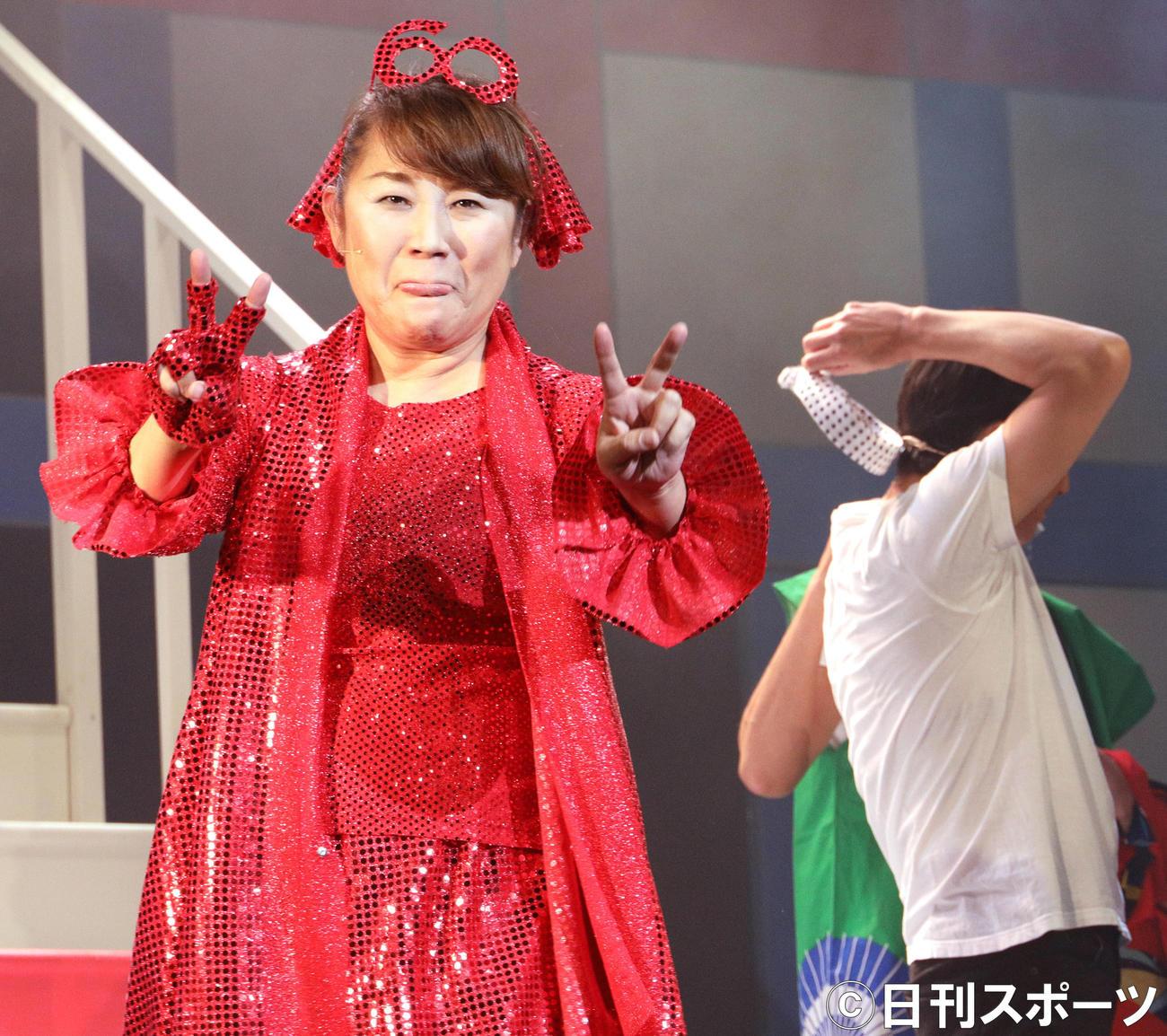 「山田邦子の門2020」還暦記念舞台公演を行う山田邦子(撮影・中島郁夫)