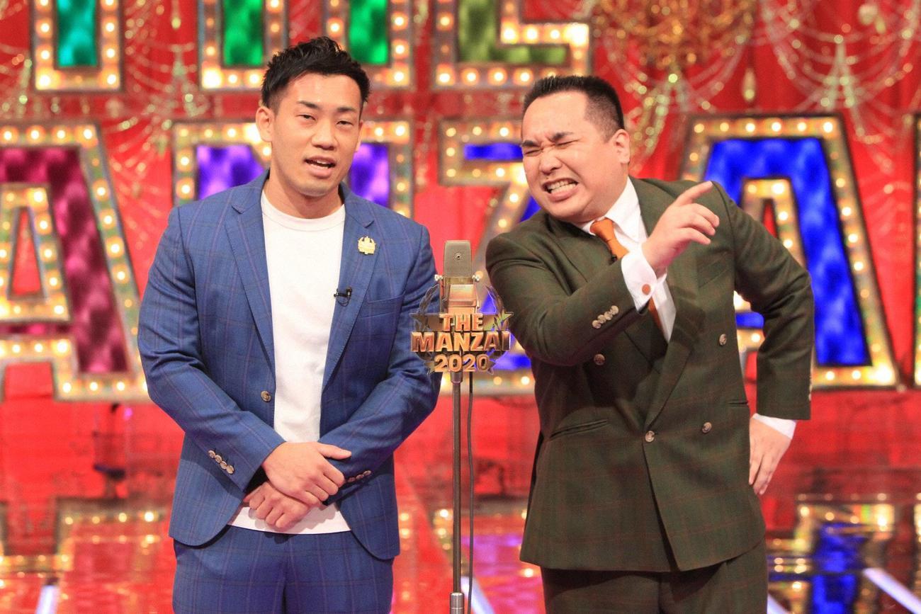 「THE MANZAI 2020 マスターズ」に出演するミルクボーイの駒場孝(左)と内海崇(C)フジテレビ