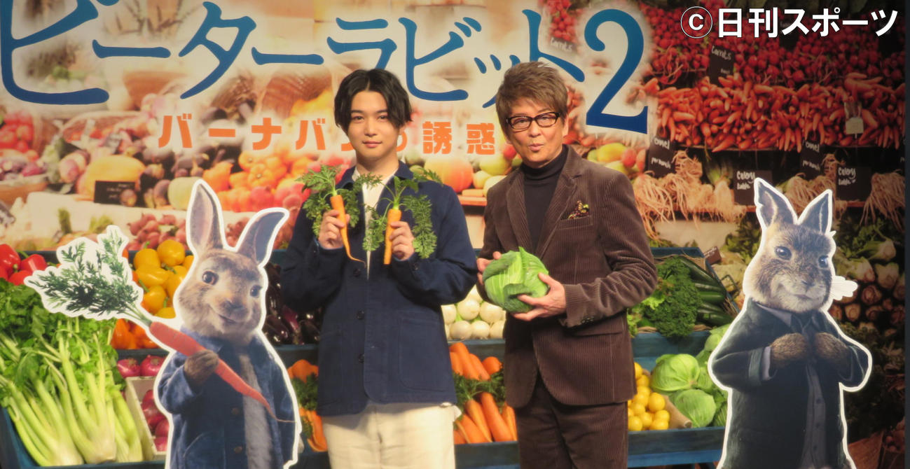 映画「ピーターラビット2/バーナバスの誘惑」日本語吹き替え版声優発表会に出席した千葉雄大(左)と哀川翔(2020年3月3日撮影)