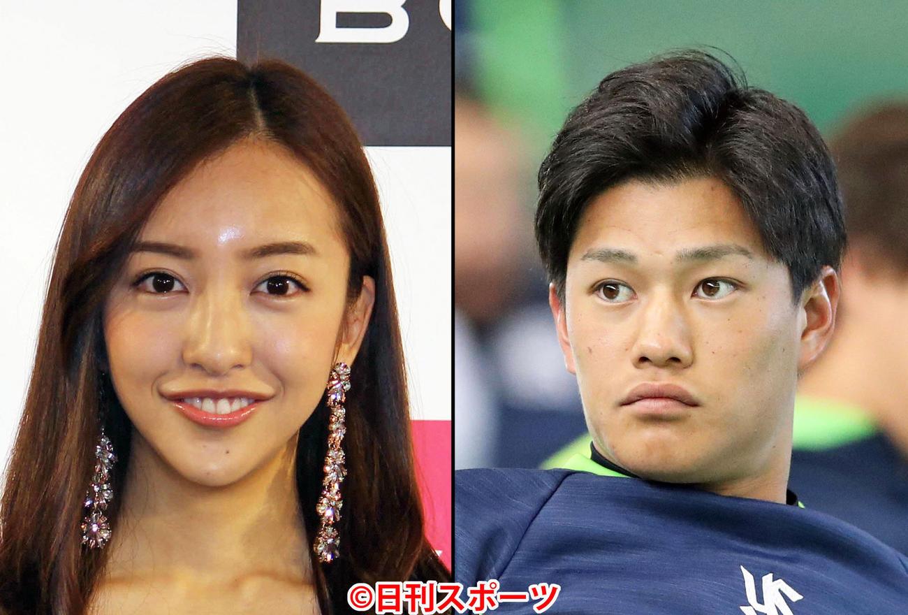 板野友美(左)とヤクルト高橋奎二