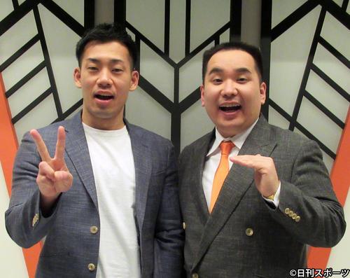 ミルクボーイの内海崇(右)と駒場孝(20年3月撮影)