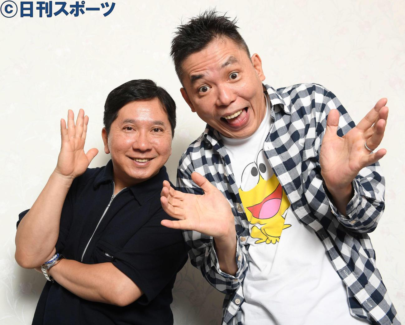 爆笑問題の田中裕二(左)と太田光(19年9月撮影)