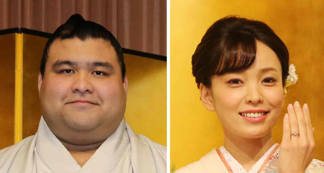高安(左)と妻の杜このみ(19年10月撮影)