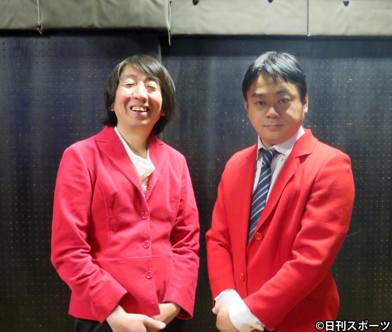 モダンタイムスのツッコミのとしみつ(左)とボケの川崎誠(撮影・小谷野俊哉)