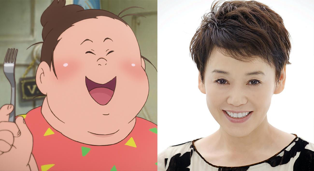 アニメ映画「漁港の肉子ちゃん」の主人公・肉子ちゃん(左)と声優を務める大竹しのぶ