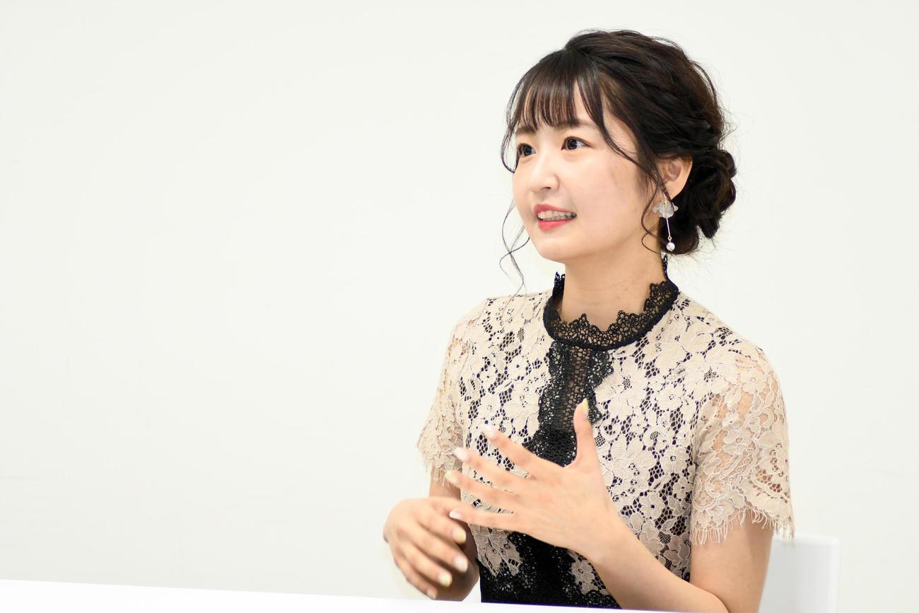 舞台「未来記の番人」の出演に向けて意気込みを語ったSKE48惣田紗莉渚(2021年2月25日撮影撮影)