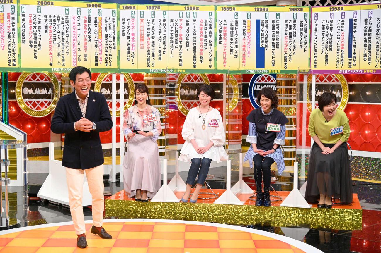 8日放送の「痛快!明石家電視台」に出演する左から、明石家さんま、大桃美代子、安井牧子、武川智美アナウンサー、松本麻衣子アナ(C)MBS