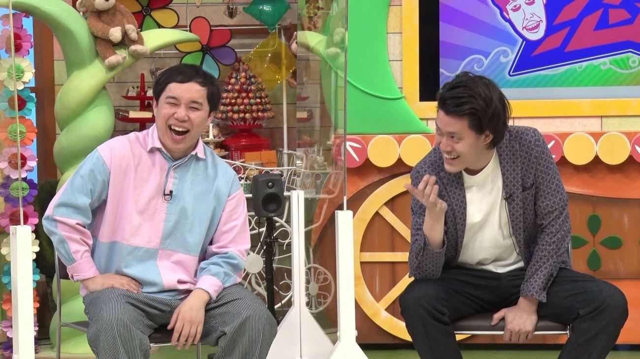 10日放送の「よしもと新喜劇NEXT~小籔千豊には怒られたくない~」にゲスト出演する霜降り明星の粗品(右)せいや(MBSテレビ提供)
