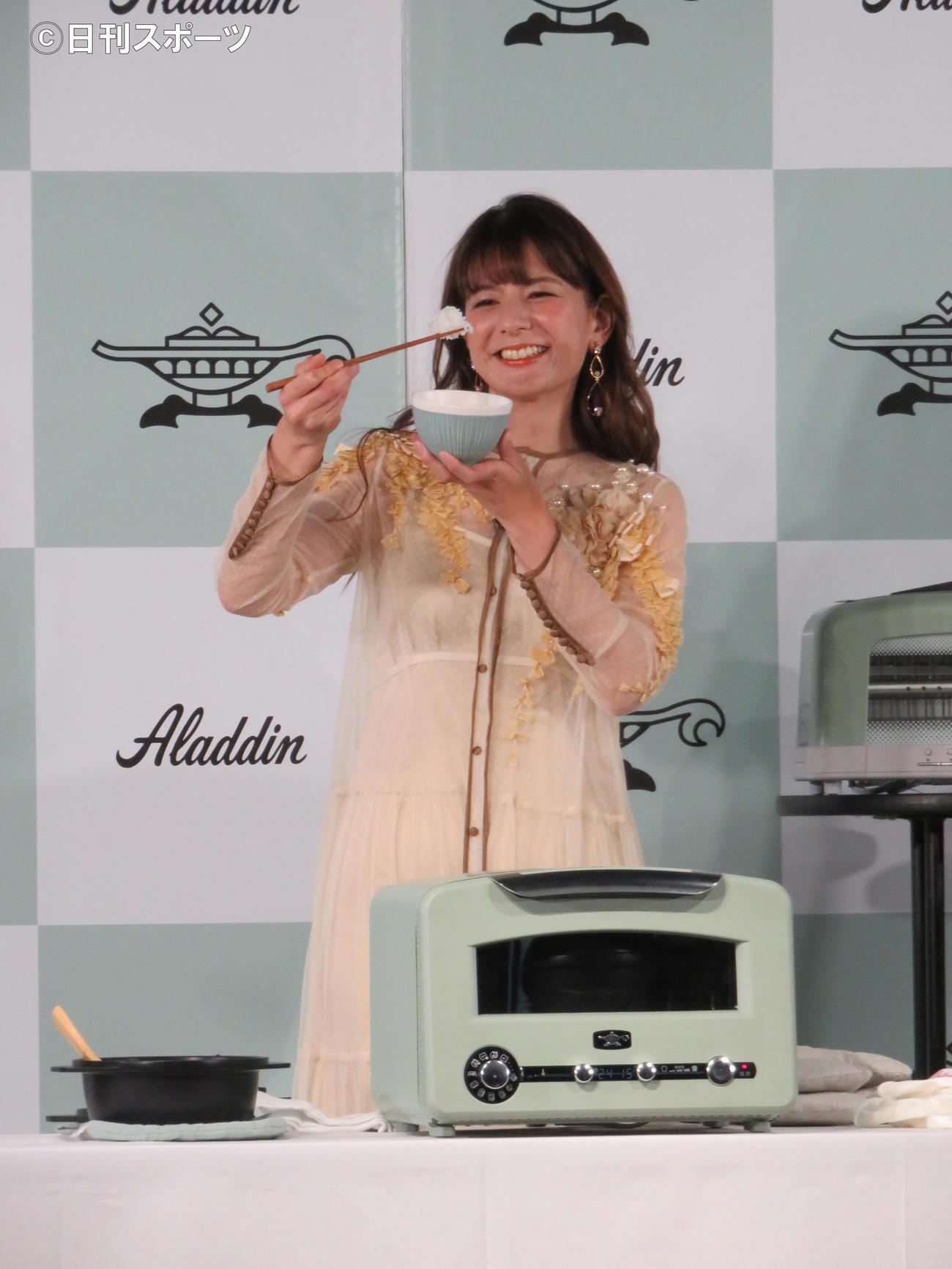 アラジンの新商品発表会で調理を行ったスザンヌ