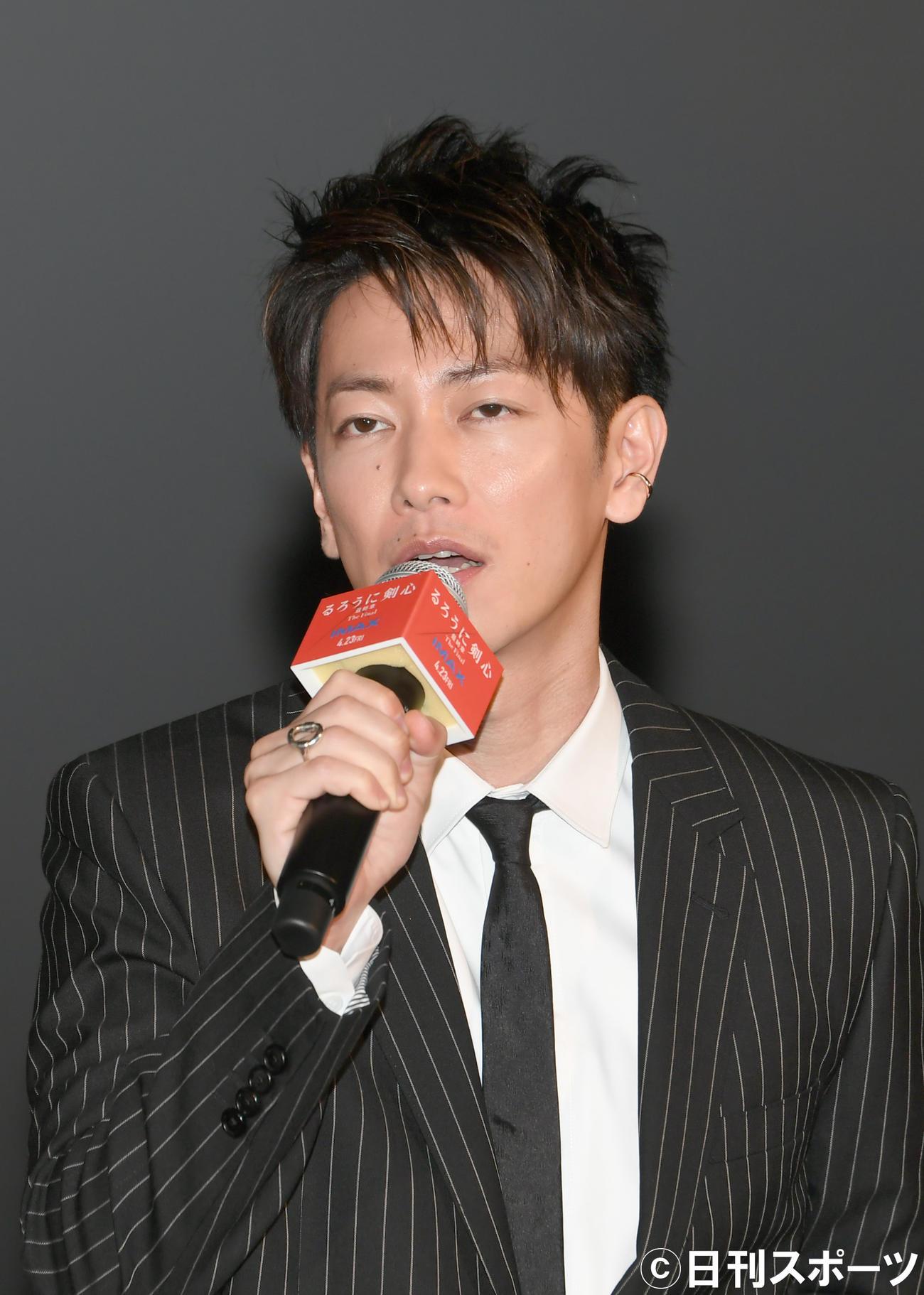 「るろうに剣心最終章」の公開イベントで、あいさつする佐藤健(撮影・酒井清司)