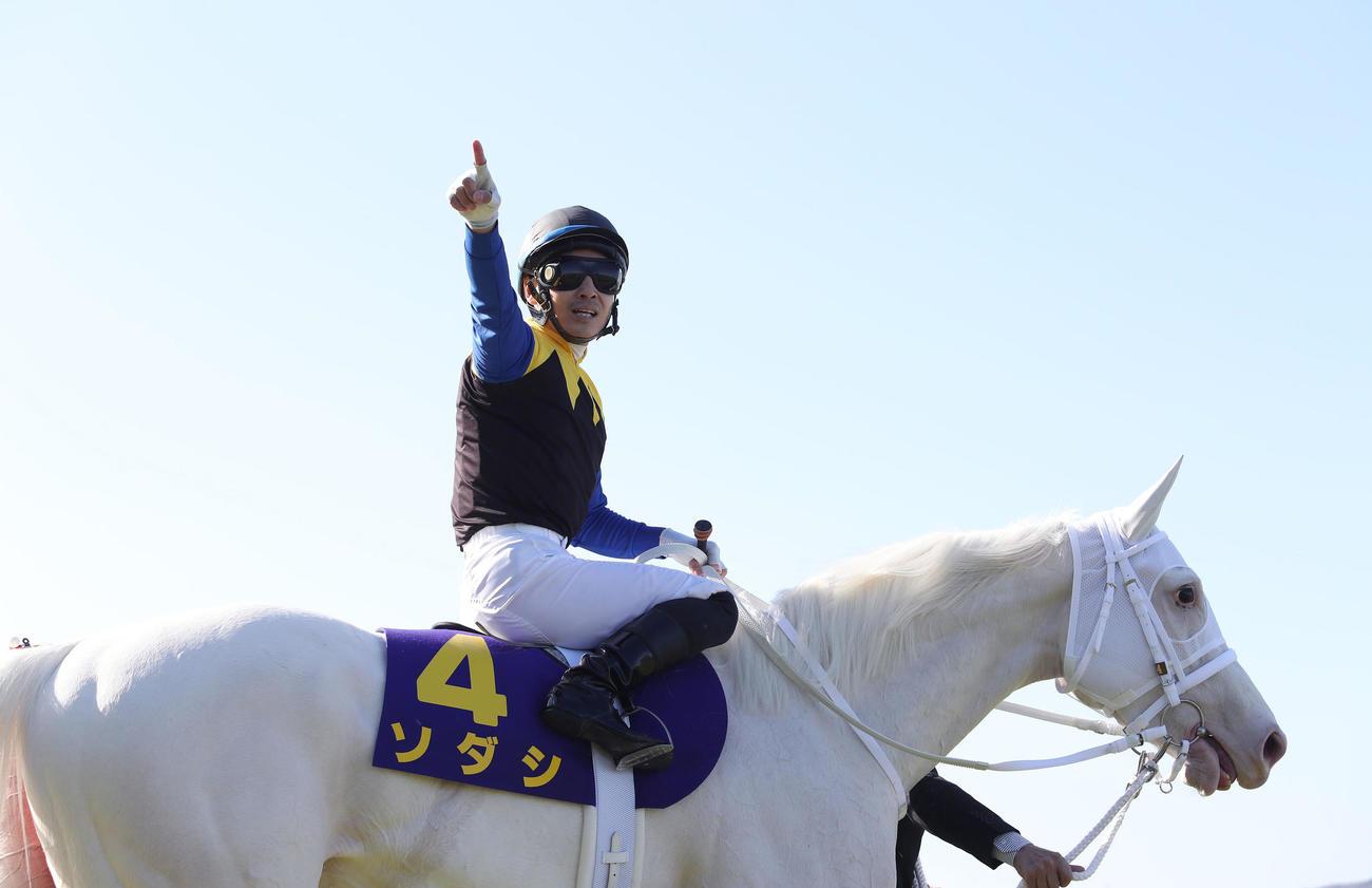 ソダシで桜花賞を制して、ひと差し指を突き上げる鞍上の吉田隼人騎手(撮影・白石智彦)