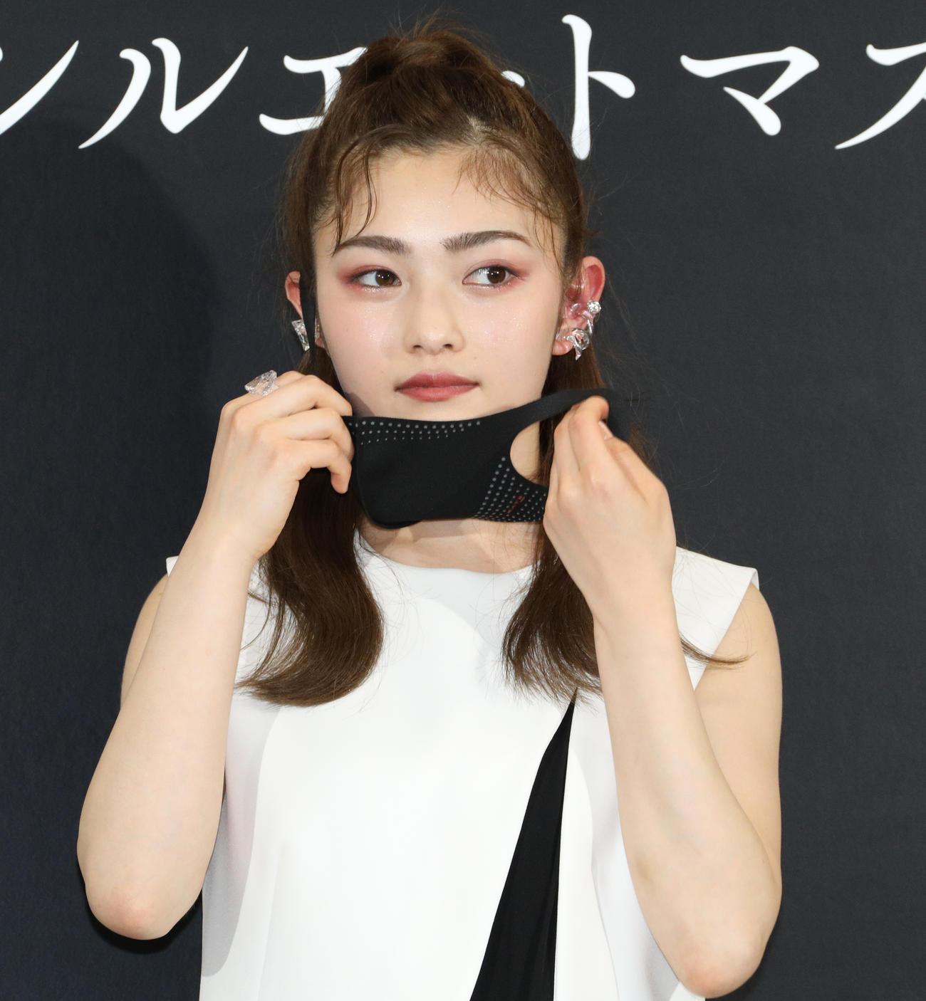 新作マスク発売イベントに参加した井上咲楽(撮影・中島郁夫)