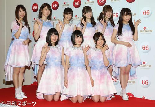 紅白歌合戦リハーサルを終えた乃木坂46。後列左から5人目が松村(2015年12月29日撮影)