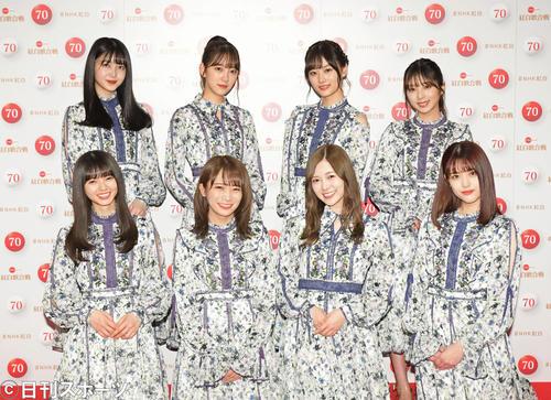 NHK紅白歌合戦のリハーサルを終え、笑顔で撮影に応じる乃木坂46。前列右端が松村(2019年12月29日撮影)