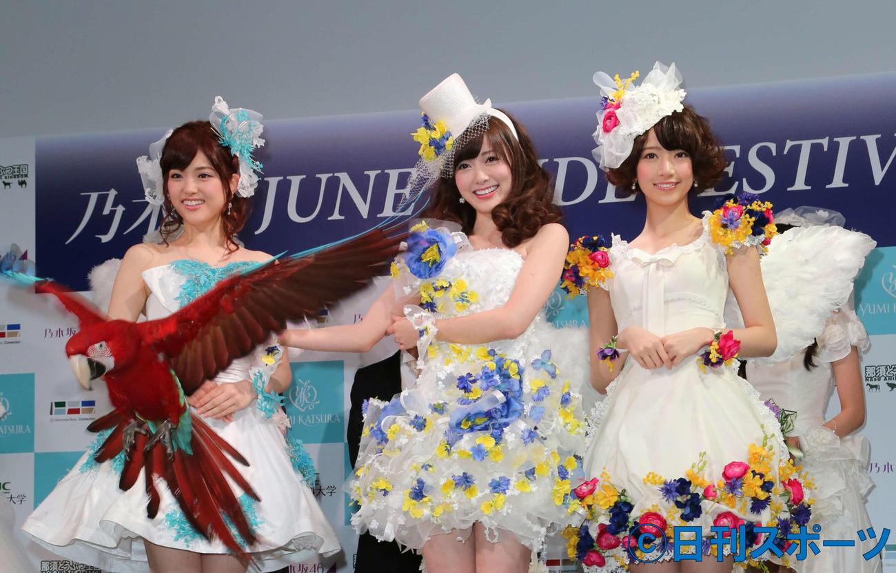 左から乃木坂46の松村沙友理、白石麻衣、橋本奈々未さん(2014年6月22日撮影)