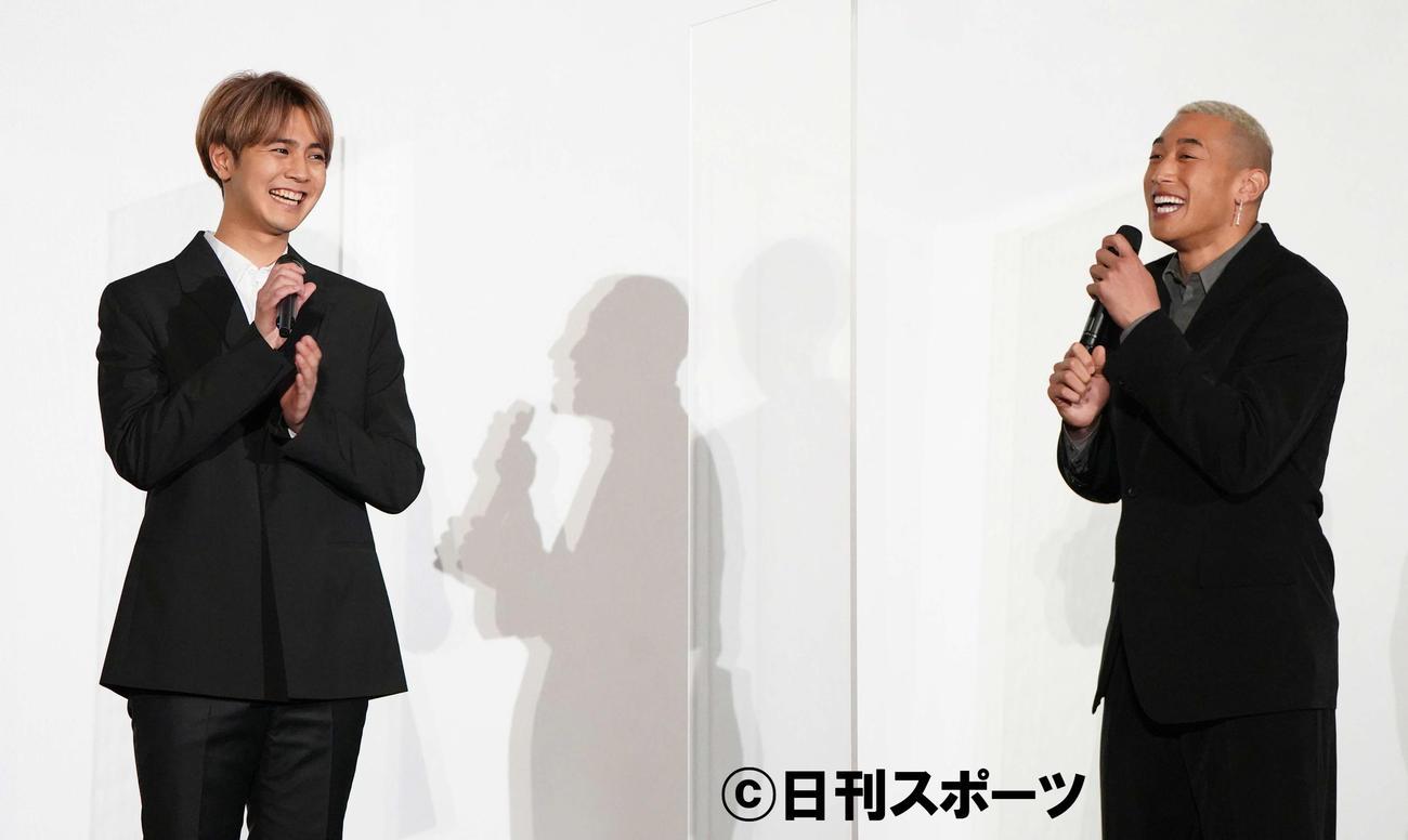 「BATTLE OF TOKYO」記者発表会で片寄涼太(左)と関口メンディー(撮影・鈴木みどり)
