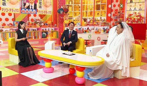 テレビ朝日系「マツコ&有吉 かりそめ天国 2時間スペシャル」に出演する、左から夏目三久、有吉弘行、マツコ・デラックス