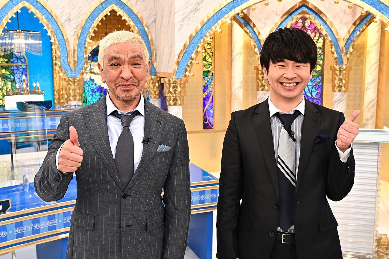 28日放送のTBS系特番「審査員長・松本人志」でタッグを組む、お笑いコンビダウンタウン松本人志(左)とオードリー若林正恭