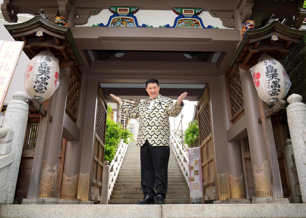 東京・文京区の湯島天満宮で新曲「登竜門」ヒット祈願を行った大江裕
