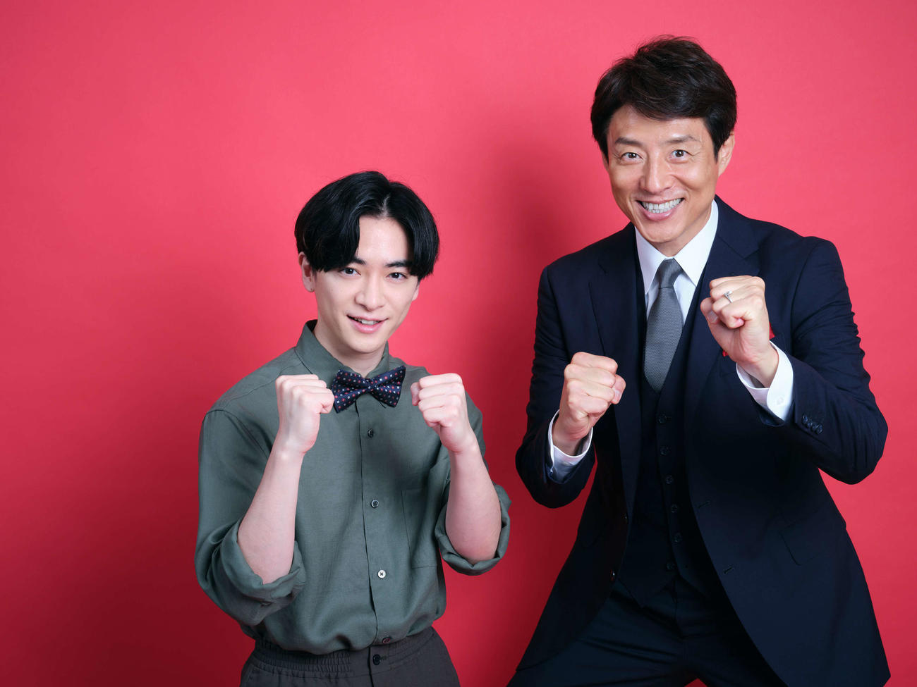 10月に放送されるテレビ朝日系「世界体操・世界新体操 北九州2021」で4度目のタッグを組むことが決まった知念侑李(左)と松岡修造