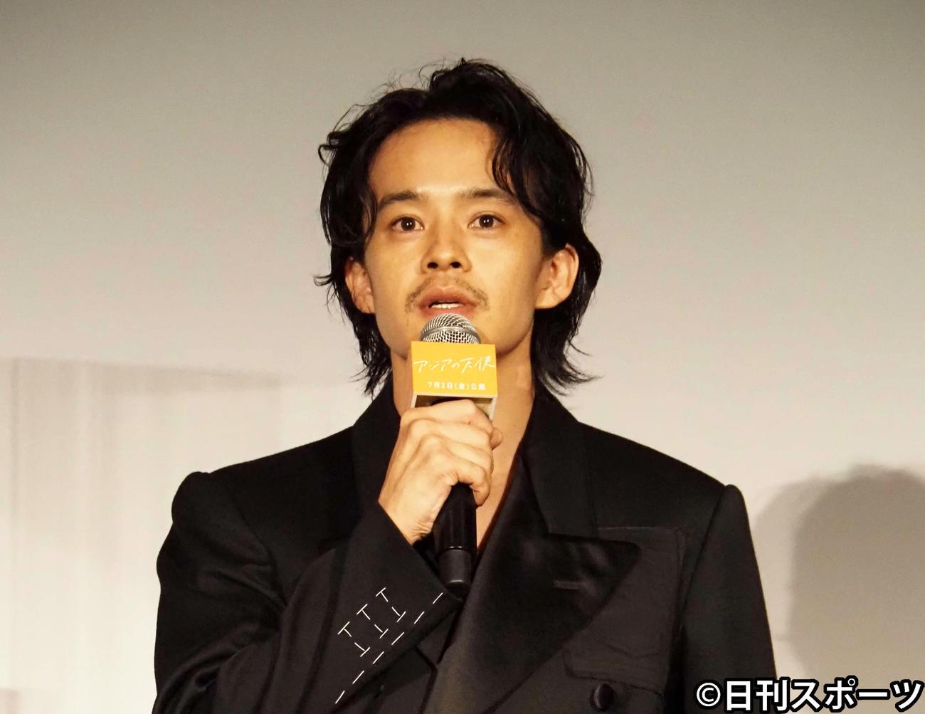 映画「アジアの天使」プレミアイベントに出席した池松壮亮(撮影・遠藤尚子)