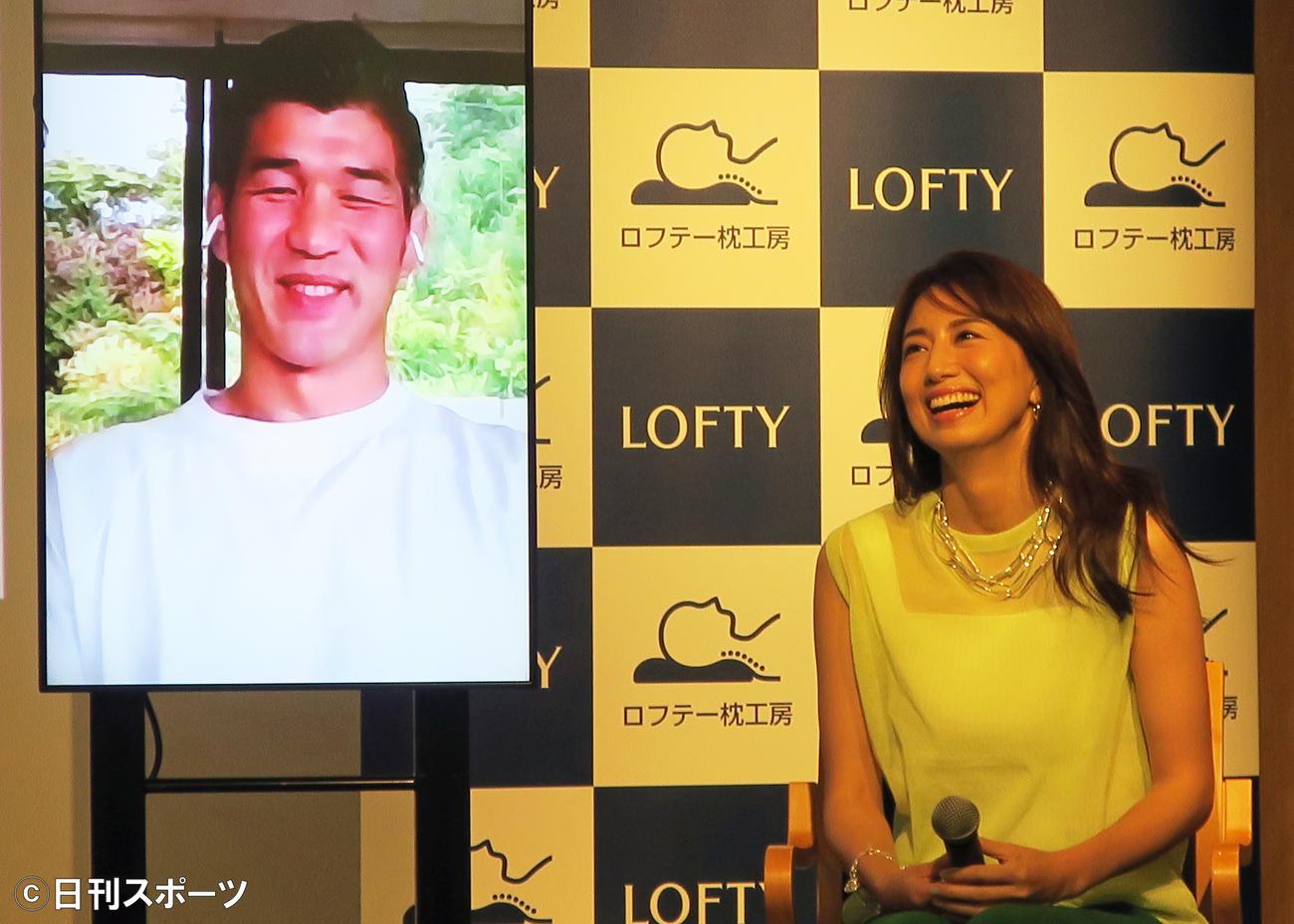 ロフテー新商品発表会で、リモート出演した夫、井上康生と語る東原亜希