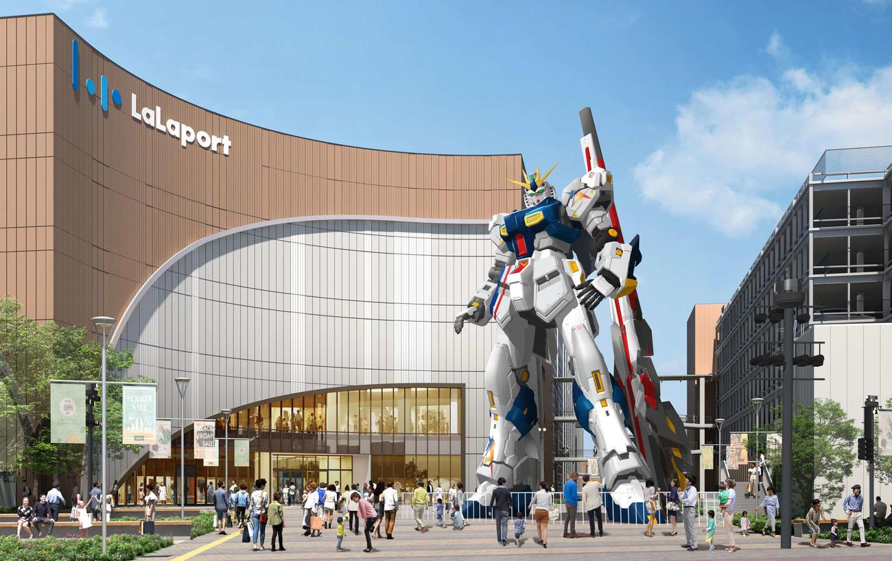 「三井ショッピングパーク ららぽーと福岡」に2022年に登場する「実物大νガンダム」(C)創通・サンライズ