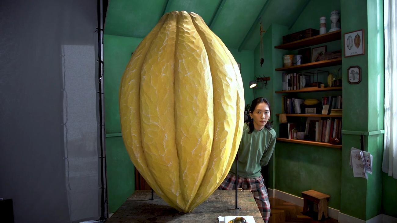 明治「チョコレート効果」の新CMで、全長130センチのカカオポッドのオブジェの脇から現れた新垣結衣