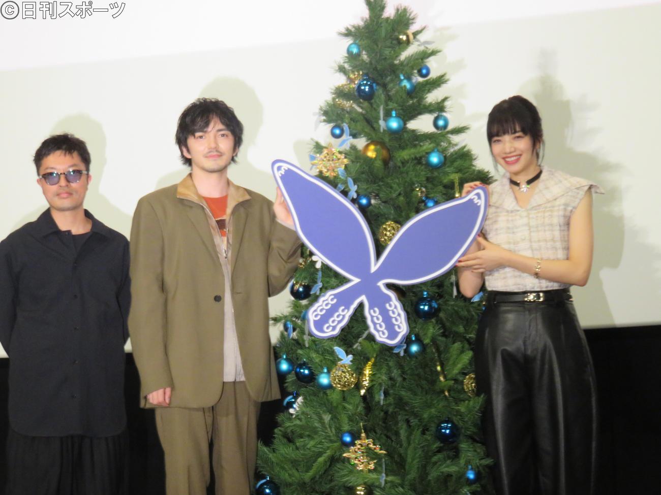 映画「恋する寄生虫」のイベントに登壇した(左から)柿本ケンサク監督、林遣都、小松菜奈