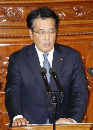 衆院本会議で質問する無所属の会・岡田克也氏(共同)