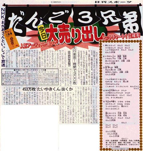「だんご3兄弟」発売を報じる、99年3月3日の日刊スポーツ紙面