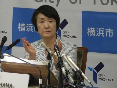 定例会見でIR誘致を正式に表明した林文子横浜市長