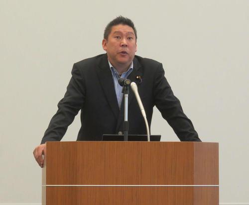 立花孝志党首は国民民主党の玉木雄一郎代表に再度、共闘して「連立与党入り」のラブコールを送った(2019年9月20日、参院議員会館)