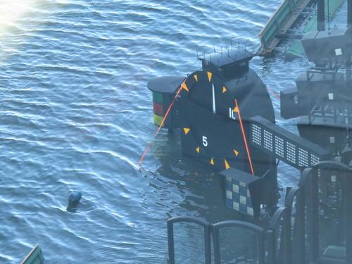 13日戸田ボートレース場 台風19号の影響で一部水に浸かった大時計(撮影・窪寺伸行)