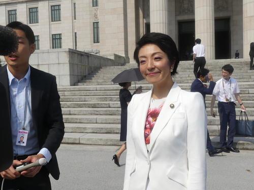 辞任した河井法相の妻、河井案里参院議員(今年8月の初登院時)