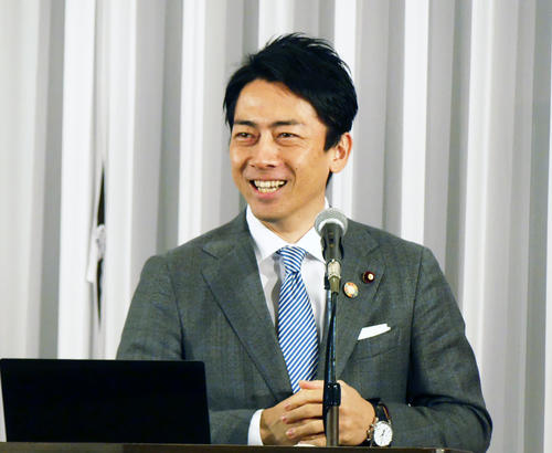 大臣就任後、初めて地元の横須賀市で講演した小泉進次郎環境相(撮影・中山知子)