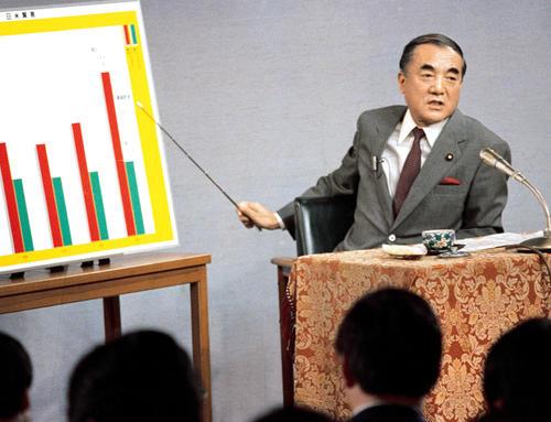 1985年4月、記者会見でパネルを使って市場開放策を説明する中曽根康弘首相(共同)