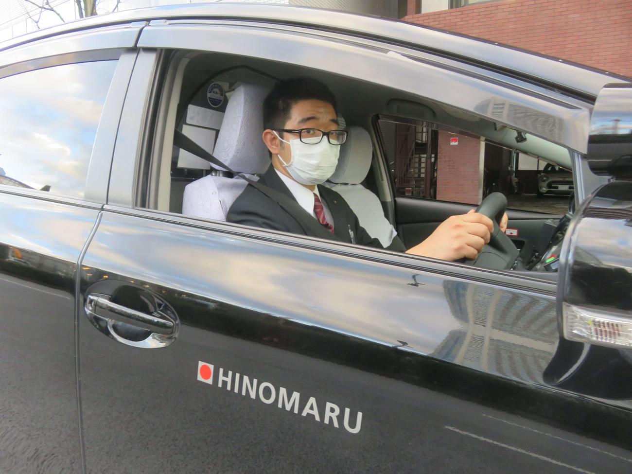 日の丸交通ではタクシー乗務員にマスク着用を義務付けた(撮影・大上悟)