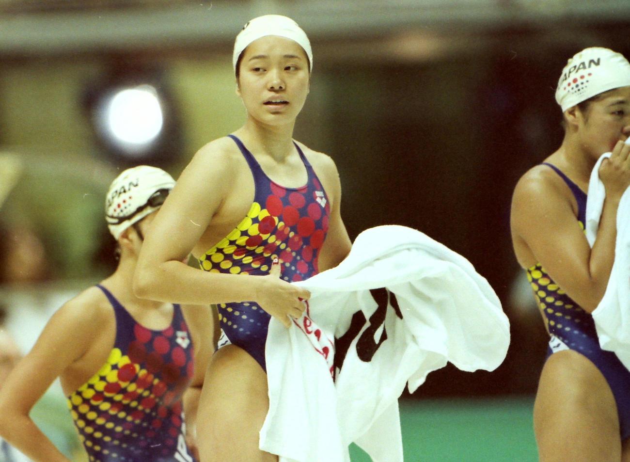 アトランタ五輪女子4×200メートル決勝の井本直歩子さん(1996年7月25日撮影)