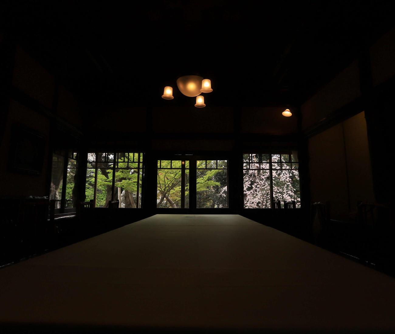 八芳園の料亭「壺中庵」の小窓からは色鮮やかな桜と庭園の緑が風情あるキャンバスのような瞬間を作り出す(撮影・垰建太)